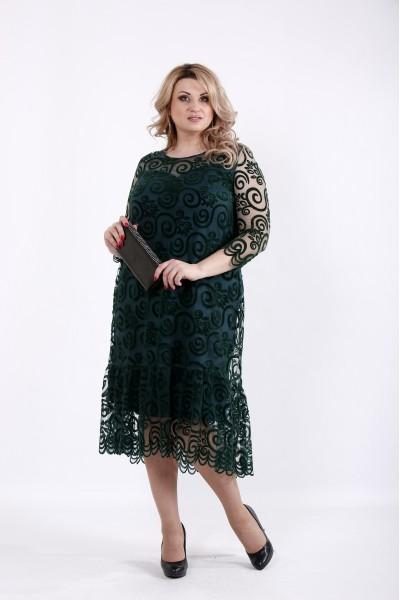 Фото Зеленое платье с сеткой флок | 01064-2