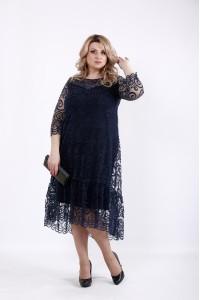 Фото Темно синее нарядное и оригинальное платье | 01064-3