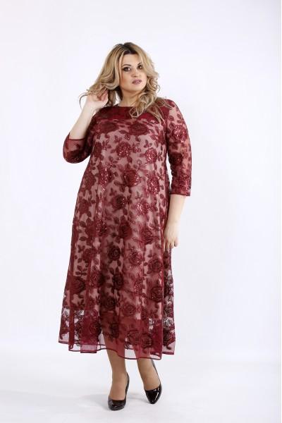 Фото Бордовое нарядное платье ниже колена | 01069-2