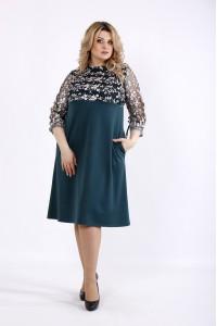 Фото Зеленое платье с вышивкой | 01071-2