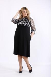 Фото Черное простое платье с вышивкой | 01071-3