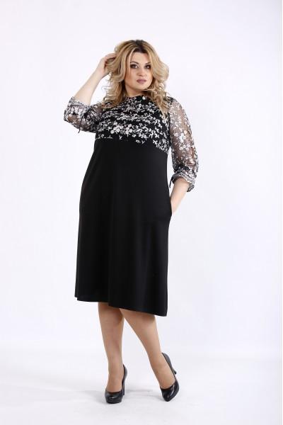 Фото Чорне просте плаття з вишивкою | 01071-3