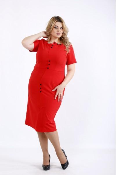 Фото Алое платье до колена   01072-3