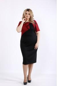Фото Бордовое с черным платье | 01073-1