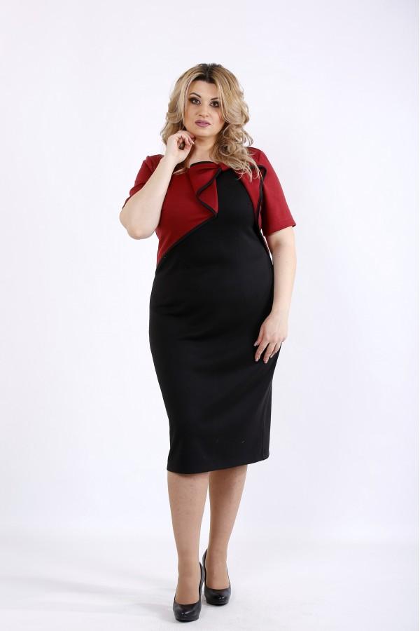 Фото Бордовое с черным платье   01073-1