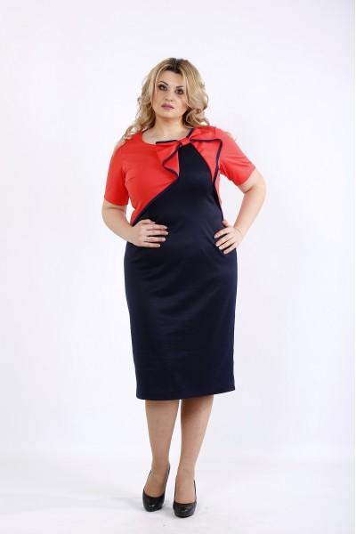 Фото Черное с коралловым платье | 01073-2