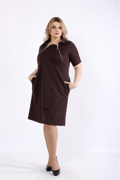 Фото Шоколадное платье из трикотажа | 01075-2