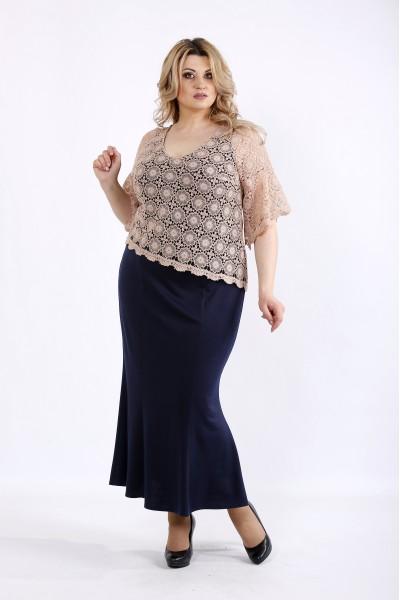 Фото Синє максі плаття з макраме | 01077-2