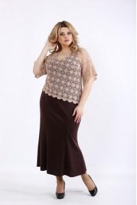 Фото Шоколадне плаття в підлогу | 01077-3