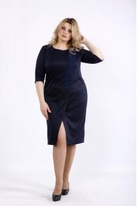 Фото Темно-синее асимметричное платье   01080-1