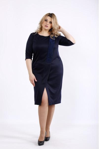 Фото Темно-синее асимметричное платье | 01080-1