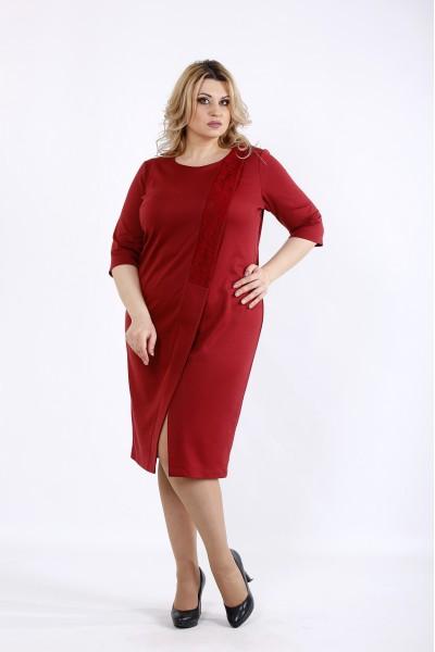 Фото Красное трикотажное платье с интересным вырезом | 01080-3