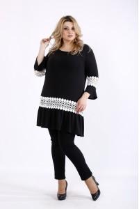 Фото Черная блузка-туника с белым кружевом   01081-2