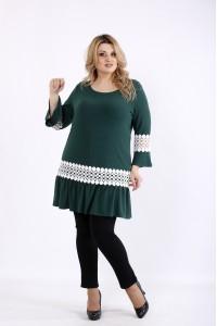 Фото Зеленая блузка с белым кружевом   01081-3
