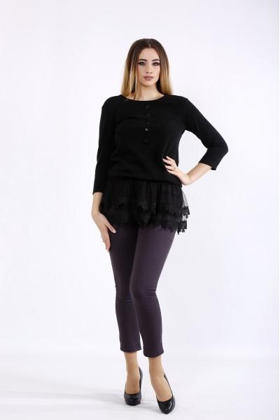 Фото Черная блузка из ангоры с органзой | 01082-1