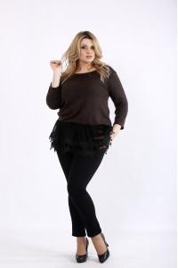 Фото Шоколадная блузка с органзой и кружевом   01082-3