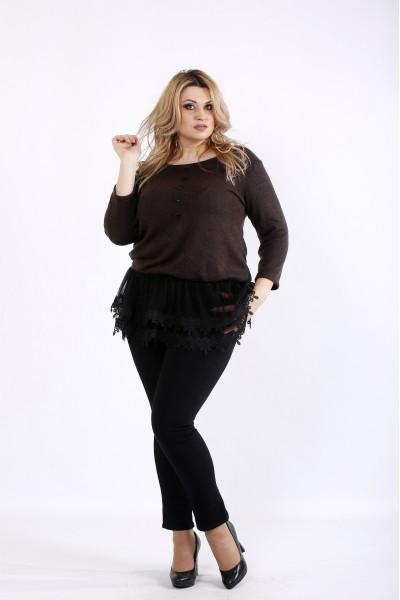 Фото Шоколадная блузка с органзой и кружевом | 01082-3