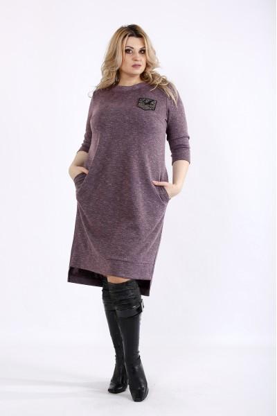 Фото Баклажанное платье  с карманами | 01086-2