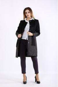 Фото Комбинированное черное пальто | t01090-1