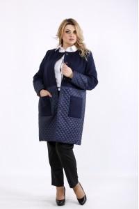 Фото Синее пальто из кашемира и стежки | t01090-2
