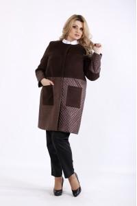 Фото Коричневое кашемировое пальто со стежкой | t01090-3