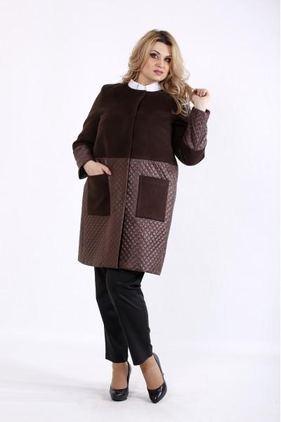 Фото Коричневе кашемірове пальто зі стежкою | t01090-3