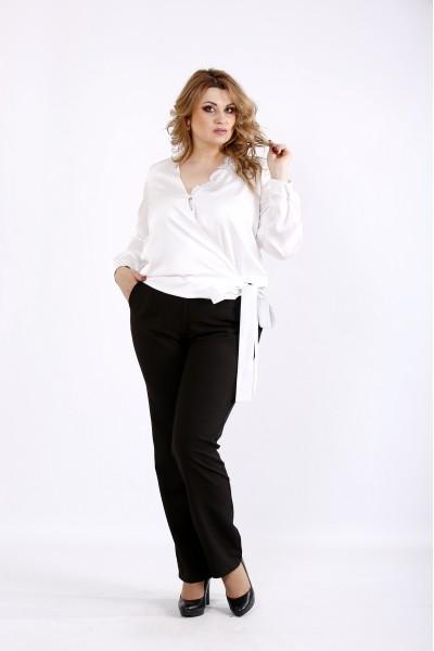 Фото Шелковая блузка молоко | 01083-1