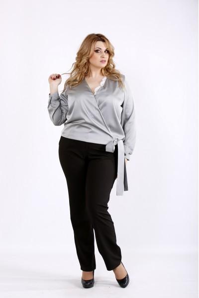 Фото Стальная блузка с длинным рукавом | 01083-3