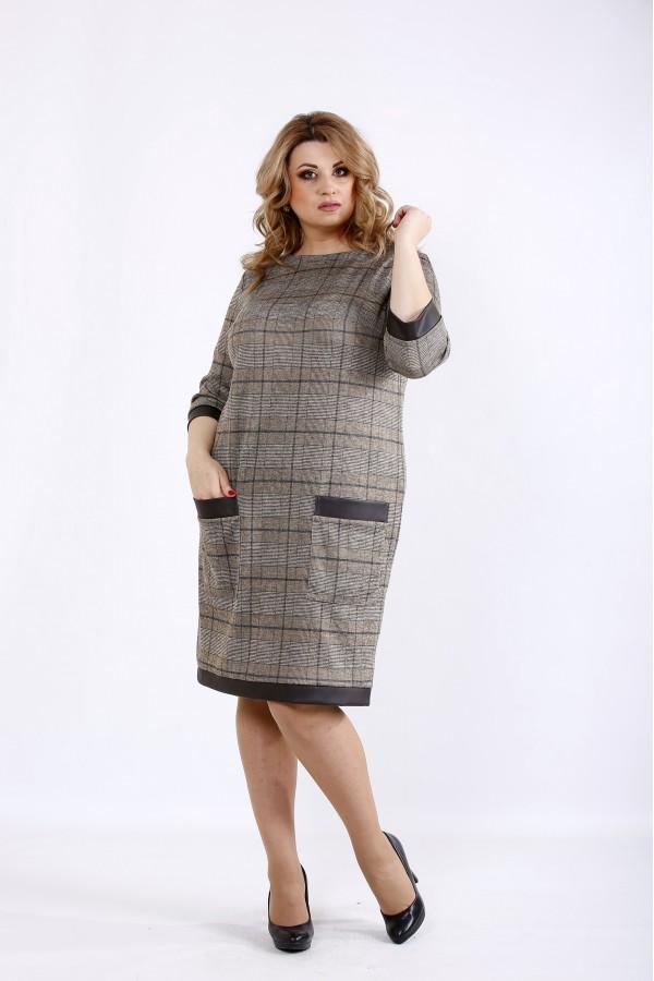 Фото Коричневое платье до колена из трикотажа | 01094-3