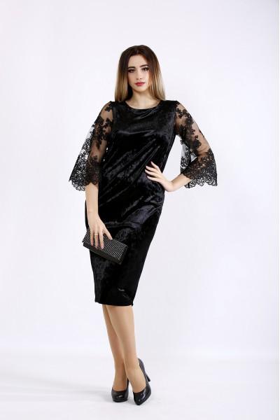 Фото Черное велюровое платье с вышивкой | 01095-1
