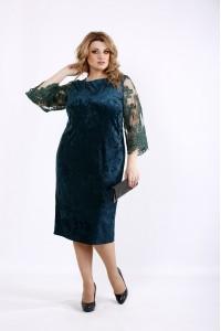 Фото Нарядное зеленое платье из велюра | 01095-2