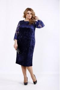 Фото Синее бархатное платье из велюра | 01095-3