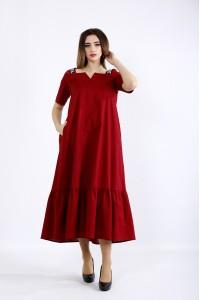 Фото Длинное расклешенное платье бордо | 01096-1