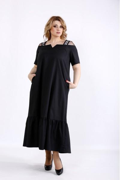 Фото Черное скрывающее платье ниже колена | 01096-2