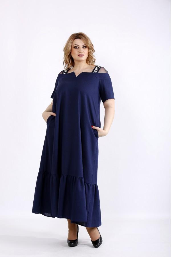 Фото Синее льняное платье свободного кроя | 01096-3