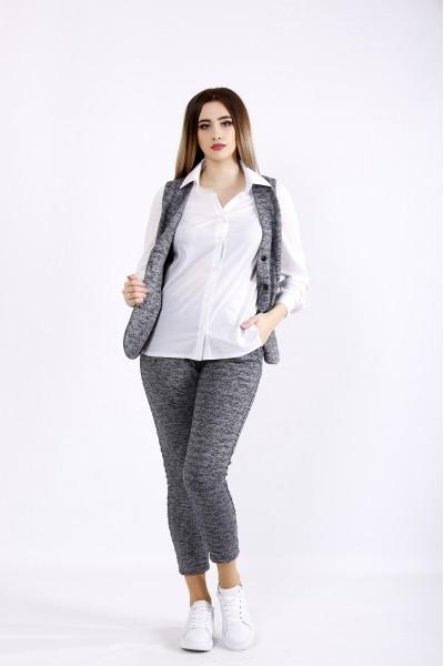 Фото Темно-серый трикотажный костюм | 01102-2 | блузка 01115 отдельно