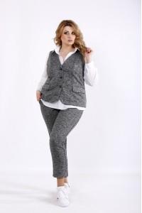 Фото Трикотажный костюм темно-серого цвета | 01102-3 | блузка 01115 отдельно
