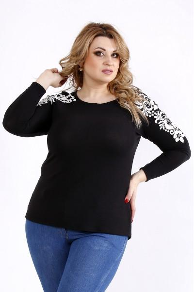Фото Черная блузка с красивым кружевом | 01105-2
