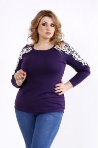 Фото Фиолетовая блузка с кружевом | 01105-3