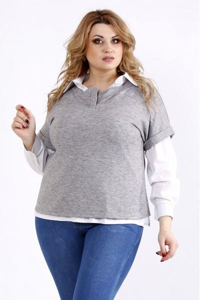 Фото Серая блузка | 01106-2 | на рубашке 01115-1 - отдельно