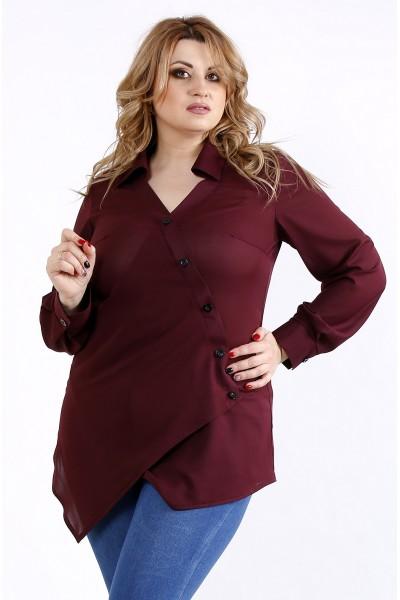 Фото Баклажанная нарядная блузка-рубашка | 01107-2