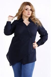 Фото Синяя асимметричная легкая блузка-рубашка | 01107-3