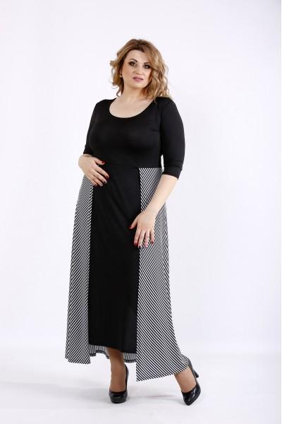 Фото Черное длинное оригинальное платье | 01108-1