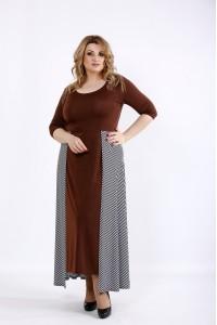 Фото Шоколадное платье с полосатой юбкой | 01108-3
