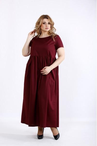 Фото Сливовое платье в пол скрывающее | 01110-2