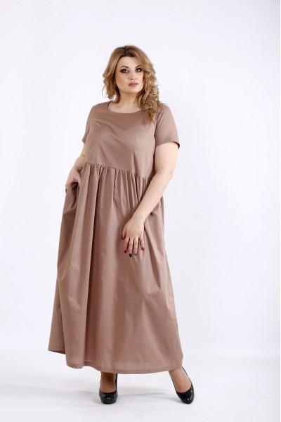 Фото Свободное длинное платье мокко | 01110-3