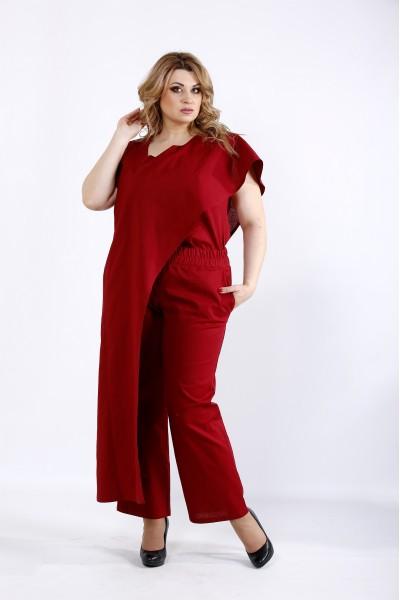 Фото Льняной бордовый костюм | 01113-2