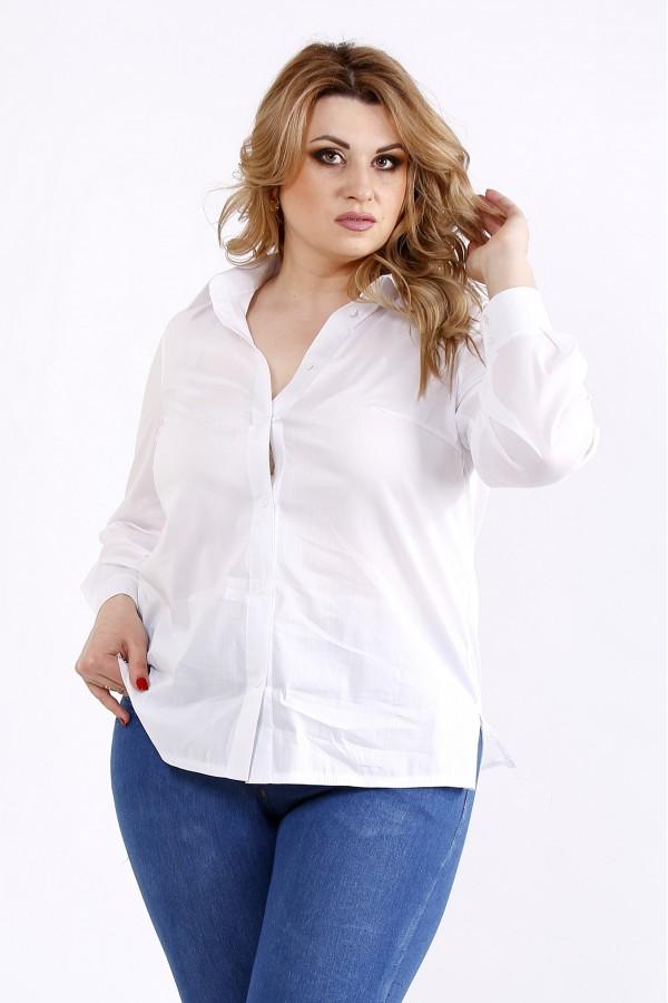 Фото Белая универсальная блузка-рубашка | 01115-1