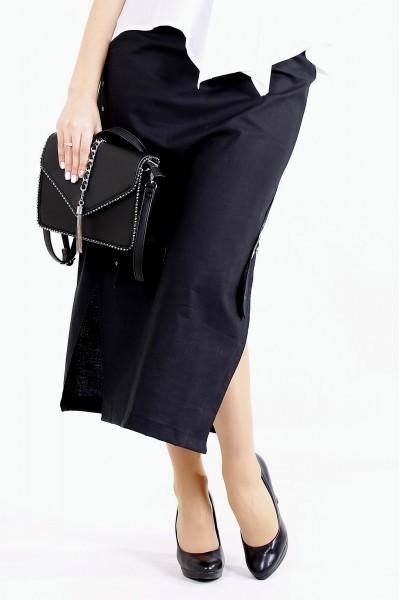 Фото Черная льняная юбка ниже колена   01111-1
