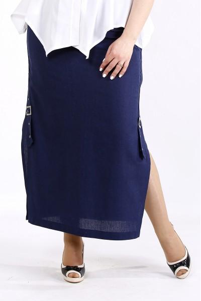 Фото Синяя длинная льняная юбка с разрезом   01111-2